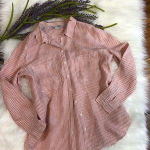 Biden Linen Orange Striped Button Down Shirt